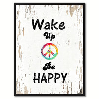 Wake Up & Be Happy Saying Canvas Print, Black Picture Frame Home Decor Wall Art Gifts