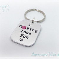 I love you hand stamped keyring keychain mature nature adult humour love hate funny valentines gift personalise