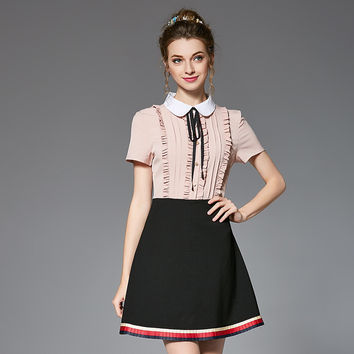 Vintage Preppy Women Dress Contrast Spliced A Line Peter Pan Collar Ruffled Short Sleeve Plus Size Summer Dresses