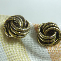 Bergere Love Knot Earrings Gold Toned  Vintage