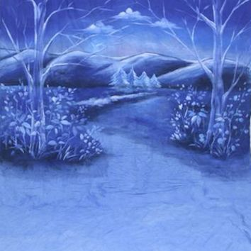 Blue Scenic Trees Flowers Mountain Sky Hand Painted Muslin Backdrop - LCMSS131SL - LAST CALL -