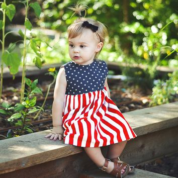 Navy Stars And Stripes Dress Bows Back