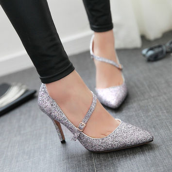 New arrival 2017 women shoes pumps pointed toe high heel bling sequin sexy wedding shoes bridal party super high heels big size