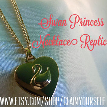 Princess Odette Necklace The Swan Princess Charm Heart Swan 1994 Movie Gold Plated 18K