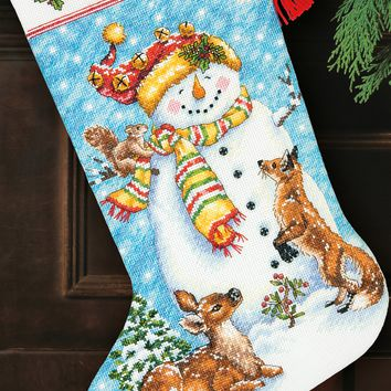 """Winter Friends Stocking (14 Count) Dimensions Counted Cross Stitch Kit 16"""" Long"""