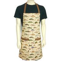 Fishing Apron for Men , Game Fish and Lures on Tan with Brown Check trim , Adjustable with Pockets
