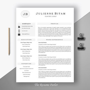"Resume Template | Modern Resume Template for Word | Food and Beverage | CV Design | ""The Pastry Chef"""