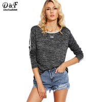 Dotfashion Grey Marled Knit Contrast Binding Tops Women Round Neck Long Sleeve Tees Autumn Casual T-shirt