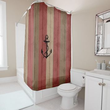 Rustic Red & Brown Wood Nautical Stripes & Anchor Shower Curtain