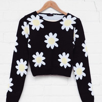 Daisy Crop Jumper Black