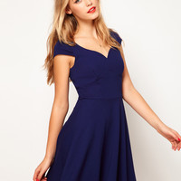 ASOS Skater Dress With Wide Waistband at asos.com