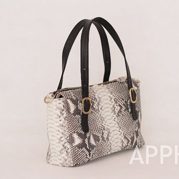 Zinnia Genuine Exotic Python Leather Handbag in Natural Black and White Color