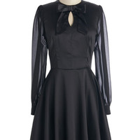 ModCloth Vintage Inspired Mid-length Long Sleeve A-line Variety Show 'Em What You Got Dress