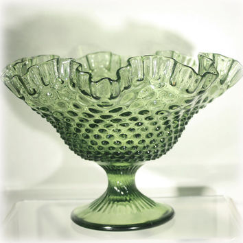Large Fenton Colonial Green Hobnail Ruffled Footed Bowl 1962