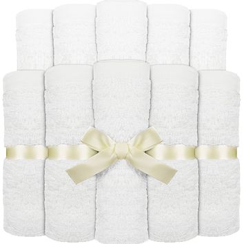 Utopia Towels Premium Bamboo Baby Washcloths (White, 10 Pack, 10x10 inches) Extra Soft and Highly Absorbent Towels For Delicate Baby Skin, Exceptional Present For Registry and Baby Shower