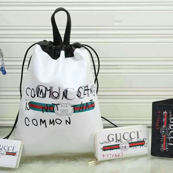 Gucci Fashion Leather Backpack Travel Bag Purse Wallet Card Bag Set Four-Piece Red