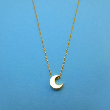 Modern, Crescent moon, Gold filled chain, Necklace