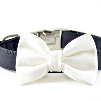 Ivory Linen Dog Bow Tie - Wedding Formal Dog and Cat Off-White Cream Linen Bow Tie