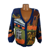 Ugly Christmas Sweater Vintage Tacky Holiday Party Thanksgiving Cardigan Women's
