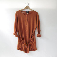vintage oversized button front shirt. copper brown cardigan. drawstring shirt.