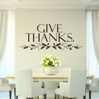 Give Thanks Art Quote Home Decor Stickers Christian Family Wall Decal Stickers