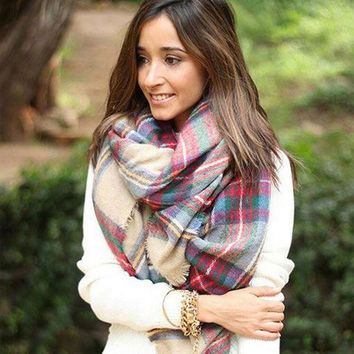 ac VLXC Cashmere Style Thicken Ladies Plaid Scarf [120845991961]