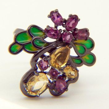 Citrine, Rhodolite, Garnet Enamel Black Rhodium over Sterling Silver Bee Ring