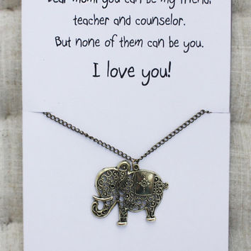 Love You Gift Elephant Friend And Family Woman Pendant Stone Necklace