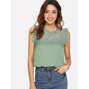 Green Floral Lace Yoke Frilled Top