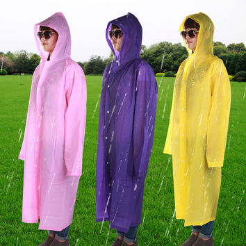 1Pc Adult Hooded Raincoat Poncho Outdoor Waterproof Rain Jacket Coat Long Design
