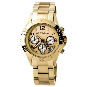 Marc by Marc Jacobs MBM3188 Women's Rock Chrono Gold Dial Gold Plated Steel Bracelet Watch