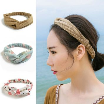 Vintage Knitting Twist Knotted Headband HairBand Bandanas Velvet Elastic Hair Band Accessories for Girls Women Head Hoop Bandage