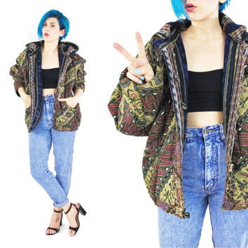 Vintage Guatemalan Jacket Hooded 80s 90s Reversible Jacket Ethnic Tribal Print Coat Slouchy Bomber Jacket Cotton Batik Grunge Hippie (M/L)