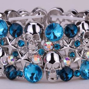SHIPS FROM USA Skull star stretch bracelet bangle for women biker bling jewelry W/ crystal antique silver color D03