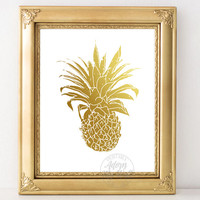 Gold pineapple, print, pineapple decor, tropical, gold pineapple print, gold pineapples, gold, pineapple wall art, fruit