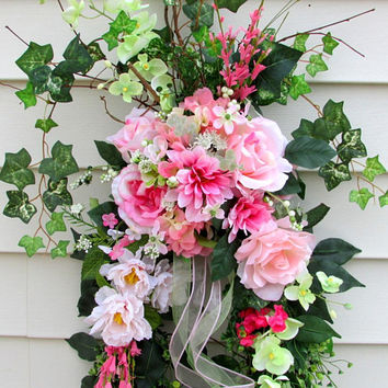 Spring And Summer Floral Door Wreath, size 36 by 20 inches, pink floral swag, porch decor spring, french country decor, wreath front door