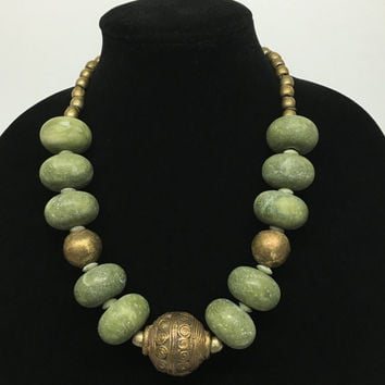 Green Afgan Glass Beads Necklace with Brass Accents