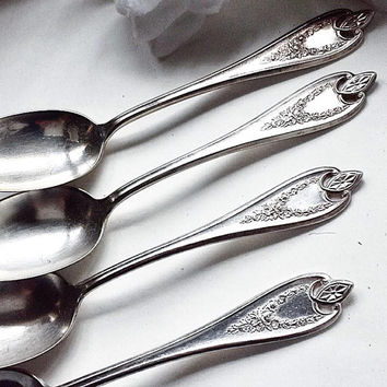 Old Colony Spoons , Set 4 Old Colony Table Spoons, Antique Silver Cutlery, Vintage Silver Cutlery, Old Colony Utensil, Antique Silverware