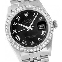 Rolex 16014 Stainless Steel Black Roman Diamond Datejust Watch