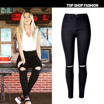 Fashion Ripped Holes High Waist Slim Stretch Strong Character Star Jeans [6365921796]