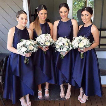 Promotion Unique Tea Length Dark Navy Blue Bridesmaid Dresses Satin Ball Gown Bridesmaid Dress Tiered Women Bridesmaid Gowns