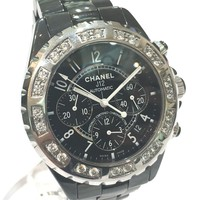 AUTHENTIC CHANEL Customized Zirconium-Bezel J12 Men's Wristwatch Black H0940