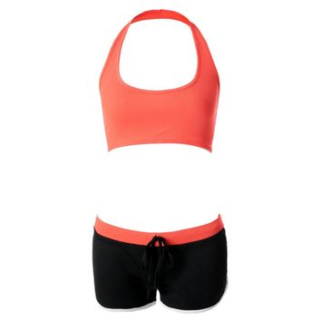 Sports U-Neck Sleeveless Tank Top + Elastic Waist Spliced Bodycon Shorts Women's Twinset