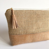 Distressed Leather and Burlap Clutch,Boho Leather Clutch,Leather Clutch Bag,Distressed Leather Bag,Brown Leather Bag,Boho Burlap Clutch