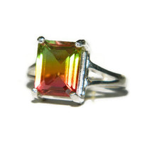 Rainbow Ring, Sterling Silver, Emerald Cut Stone, Size 6