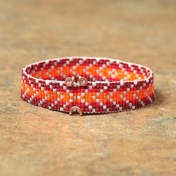 Red & Orange Chevron Beaded Bracelet