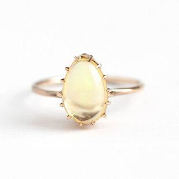 Antique 10k Rosy Yellow Gold Fire Opal Stick Pin Conversion Ring - Vintage 1910s Size
