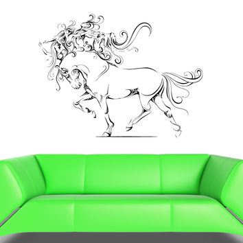 Wall Vinyl Sticker Decal Horse Hooves Mane Girls Abstraction Animal (ed413)