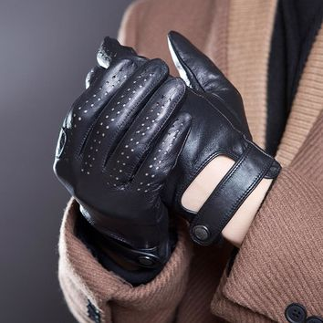 [JQIHWLS] Men's Fall and Winter Genuine Leather Gloves New Fashion Brand Black Warm Driving Unlined Gloves Goatskin Mittens