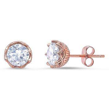 Sterling Silver 7mm Round CZ Fancy Crown Set Stud Earrings - Rose Gold